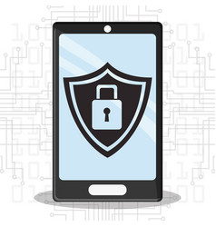 cyber security smartphone mobile shield protection vector image