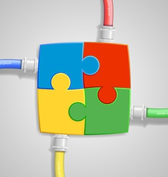 Four pieces of the puzzle come together with vector image vector image