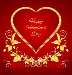 Happy Valentine gilded heart vector image