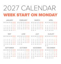 simple 2027 year calendar vector image vector image