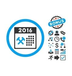 2016 Working Days Flat Icon with Bonus vector image