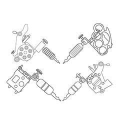 4 tattoo machines set Line-art vector