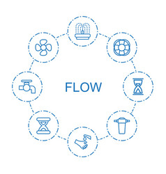 8 flow icons vector