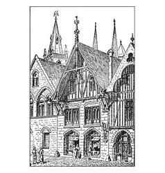 A medieval shop storefront vintage engraving vector