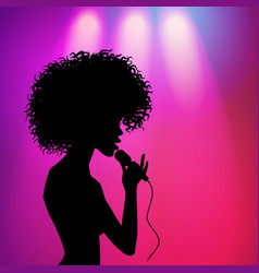 Afro american girl singing silhouette vector