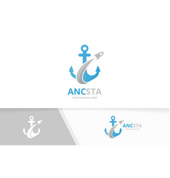 anchor and rocket logo combination marine vector image