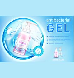 Antibacterial gel liquid antiseptic soap banner vector