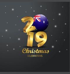 Australia flag 2019 merry christmas typography vector