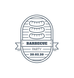 barbecue badge design line art vector image