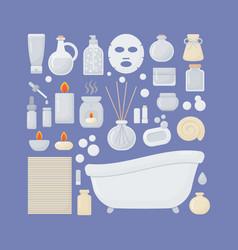 Bathroom flat icons set vector