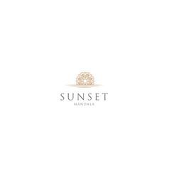Beauty sunset sunrise mandala flower logo design vector