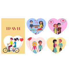 beloved female with sweetheart male travel card vector image