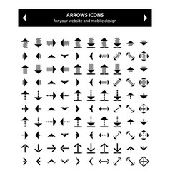 Black arrows icon set vector