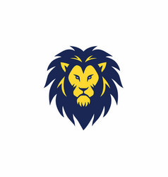 blue yellow angry lion head logo sign vector image