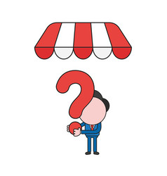Businessman character holding question mark under vector