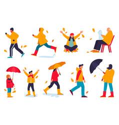 cartoon characters outdoor activity at fall season vector image