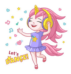 Cartoon girl kid dancing headphone horn vector