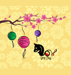 Chinese new year 2018 lantern and blossom vector