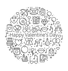 circle with love symbols in line style love vector image