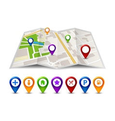 City map street view with labels or pins GPS vector
