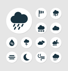climate icons set collection of moon moisture vector image