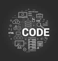 coding concept on black vector image