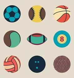 collection sport ball icon vintage vector image