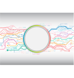 Colorful circuit circle background vector