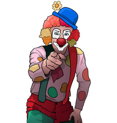 colorful party clown pointing vector image