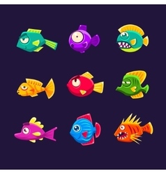 Colorful tropical fish set vector
