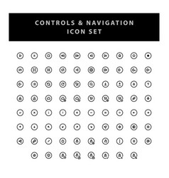 control and navigation icon set with outline vector image