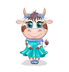 cute cartoon cow girl with beautiful eyes in a vector image