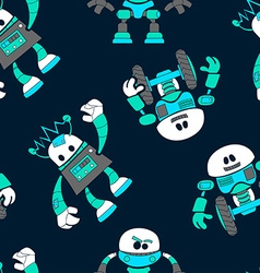 Cute robots in a seamless pattern on navy vector