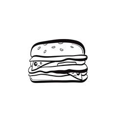 Doodle burger icon vector