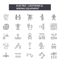 electric lightning line icons signs set vector image