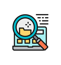 File search in laptop flat color line icon vector