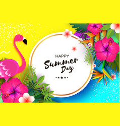 Flamingo and pink hibiscus flower tropical summer vector