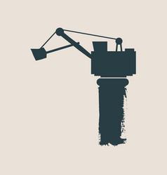 flat excavator icon vector image
