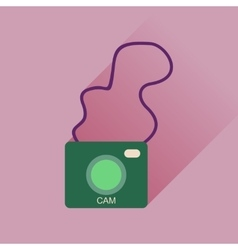 Flat icon with long shadow retro camera vector
