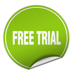 Free trial round green sticker isolated on white vector