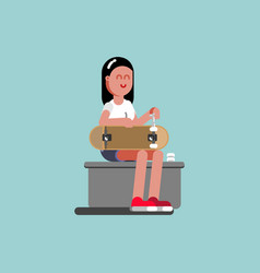 girl skater puts wheels on her board vector image