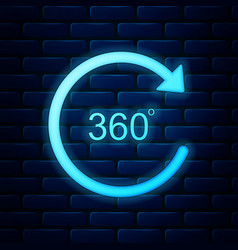 Glowing neon angle 360 degrees icon isolated on vector