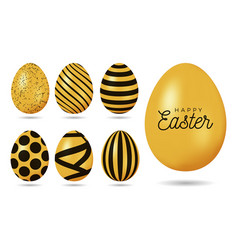 gold easter egg happy easter 7 realistic golden vector image