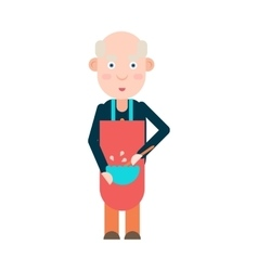 Grandpa prepares food vector image