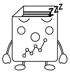 Graph chart sleeping kawaii icon image vector