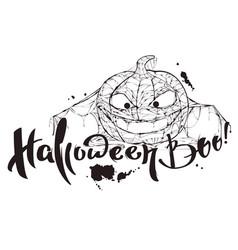 Halloween boo text pumpkin spider web silhouette vector
