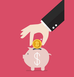 hand collect target in piggy bank vector image