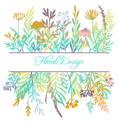 Hand drawn color floral background vector