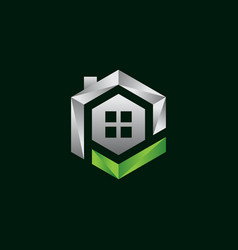 hexagon house logo vector image