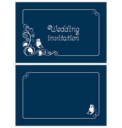 Horizontal blue wedding and save the date cards vector